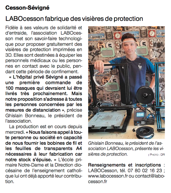 Article Ouest-France 07-04-2020